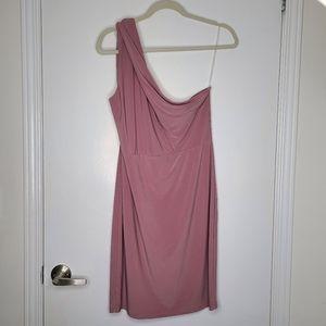 Pink one shoulder mini dress